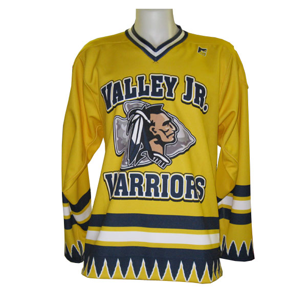 Full cut sublimated long sleeve, pullover, v-neck ice hockey jersey.