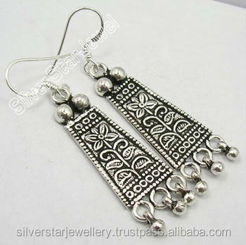 New Style 925 Sterling Silver ETHNIC OXIDIZED Dangle Earrings ! VINTAGE STYLE GIFT STORE