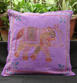ELEPHANT CUSHION PILLOW COVERS THROW Animal Embroidery Decor India Ethnic INDIA