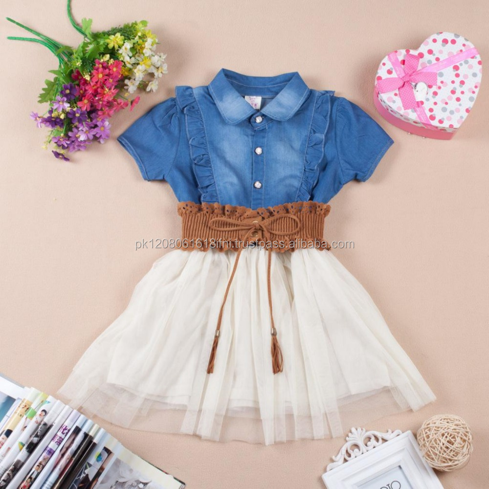 stylish kids jeans top white skirt 1 piece dress with leather belt baby girls
