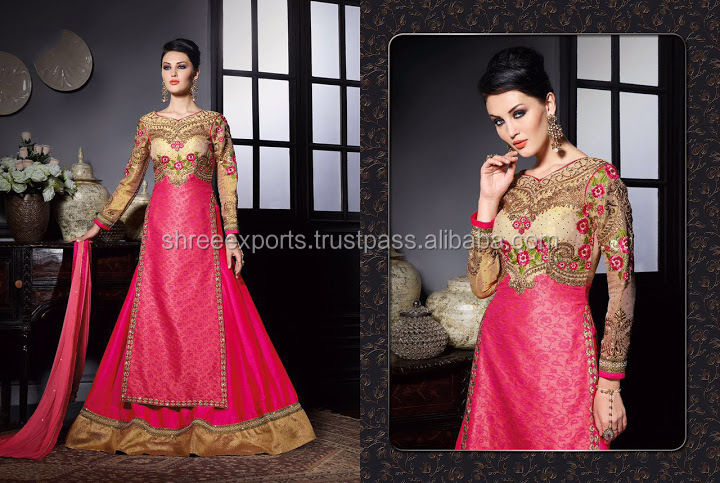 Magenta Banarasi Khadi Lehenga Style Churidar Suit/readymade anarkali salwar suit/Wholesale Anarkali Suit In India