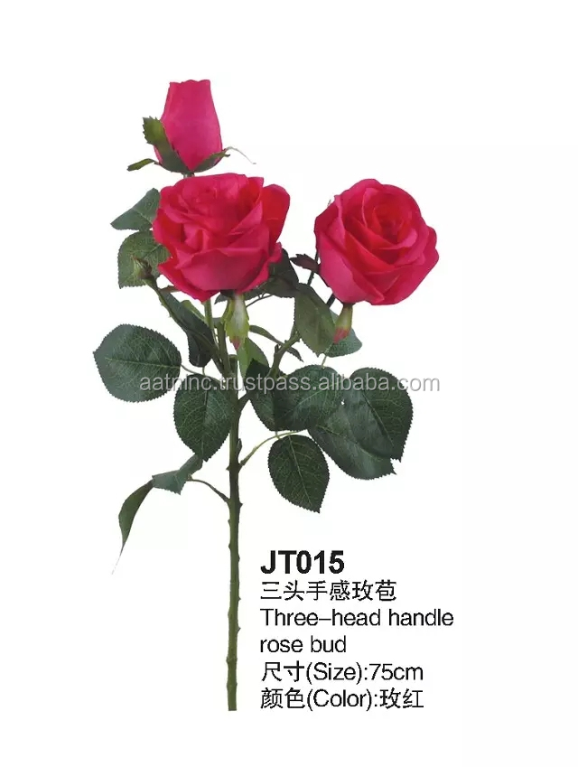 Hot sale names of flowers used for decoration 3 head rose flowers artificial