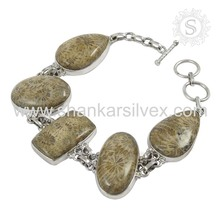 New Fashion Jasper Gemstone Bracelet 925 Sterling Silver Jewelry Wholesaler India