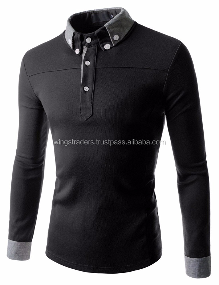 Men Casual Slim Fit V-neck Long Sleeve Plain T shirts , Custom Color T Shirt