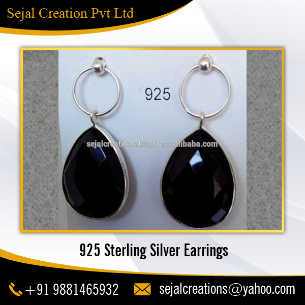 Fancy Black Onyx 925 Sterling Silver Earrings for Party Girls
