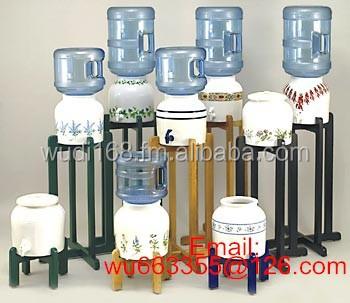 Ceramic Crock Mini Water Dispenser Tap Wood Stand 2 Gallon