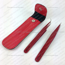 Red colour pouch and tweezers eyelash extension plan color tweezers and pouch eyelash extension set deal