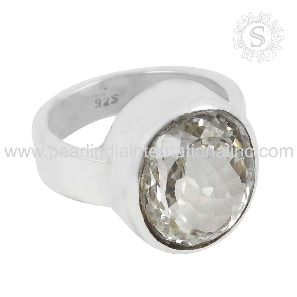 Beautiful Crystal Gemstone Ring Wholesale 925 Sterling Silver Jewelry Indian Fashion Silver Jewelry Exporters