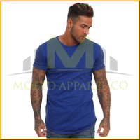 Soft-touch jersey curved hem long line scoop neck t shirt for men