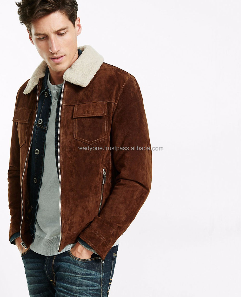 Suede leather bomber jacket for winter collections/wholesale at factory prices