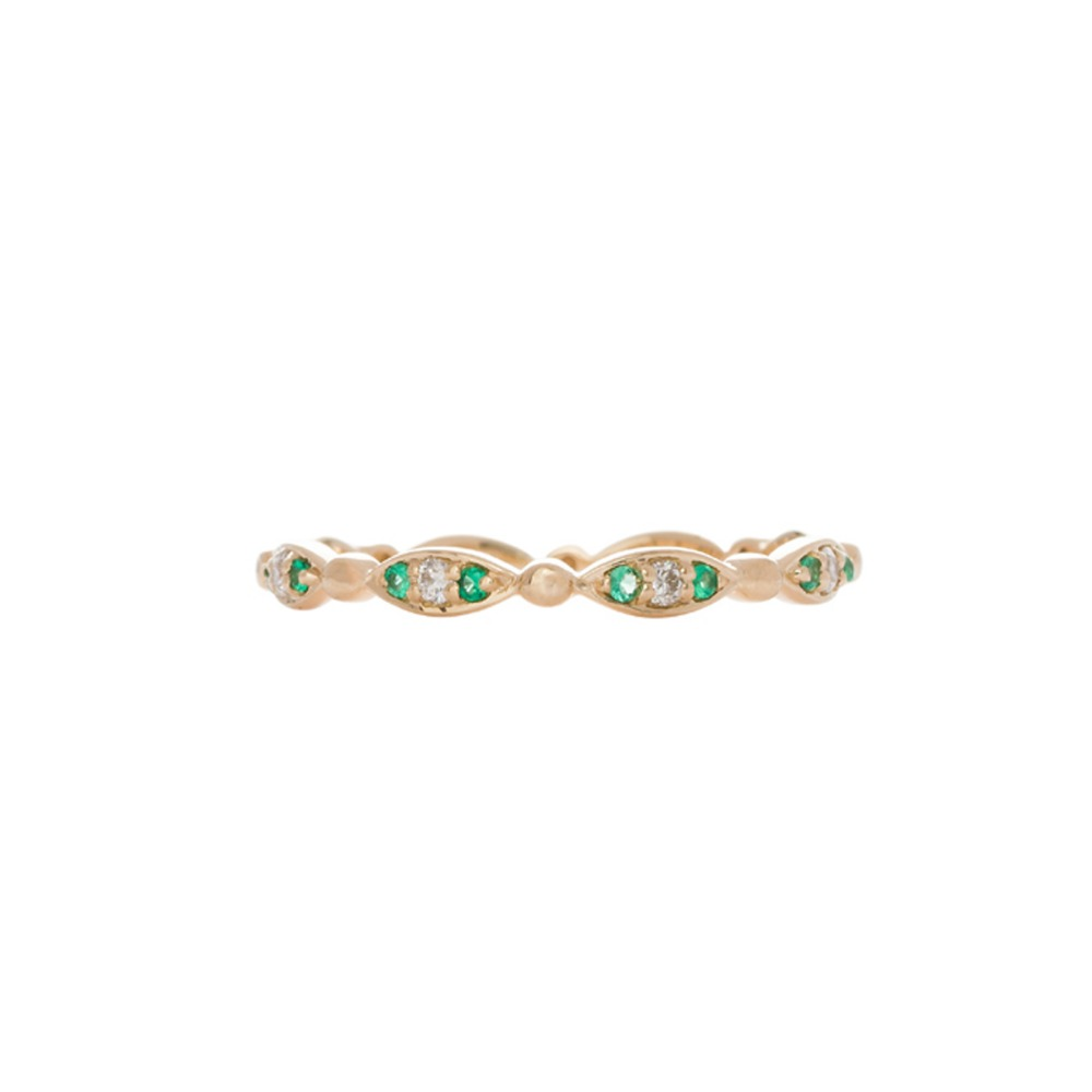 18k Gold Emrald Diamond Eternity Ring