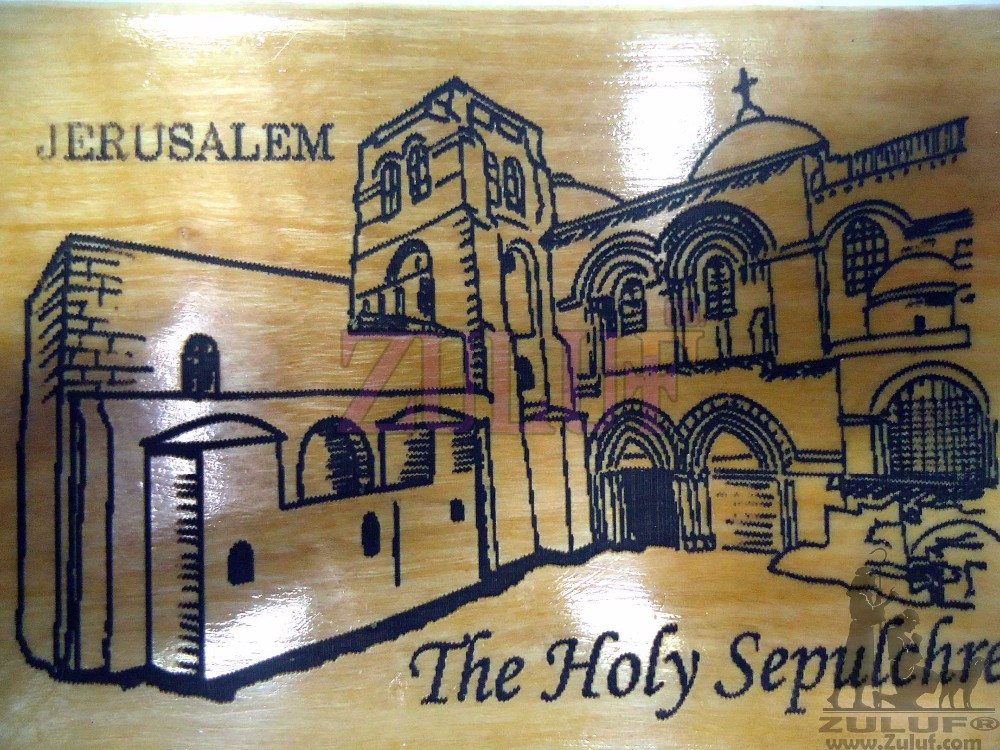 Sepulcher Church Carved Icon on Wooden Magnet Holy land Art Jerusalem - MAG018