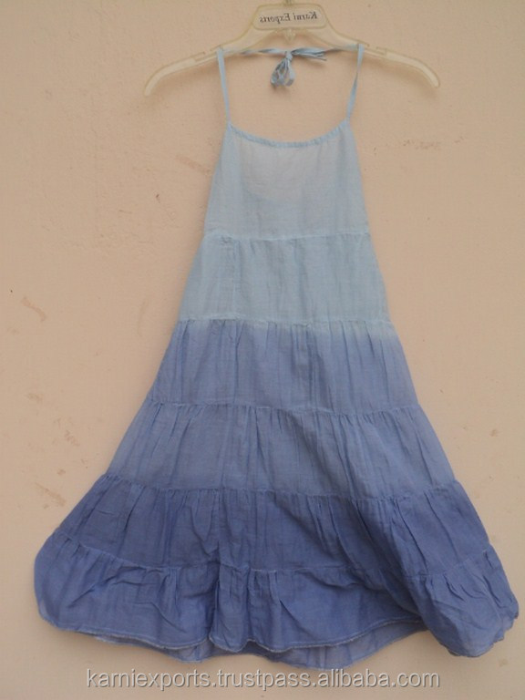 Girls Wear Halter Neck Summer Wear Fashionable Cute Baby Girls Cotton Tie Dye Printed Dress