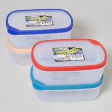 FOOD STORAGE CONTAINER 61 OZ RECT W/RUBBER EDGE ON LID 4 COL #41342