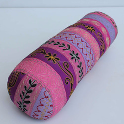 100% Polyester Embroidered Yoga Bolster Pillow with Filling Bolster