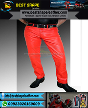EDGY DENIM STYLE MENS LEATHER PANTS GENUINE LEATHER SEXY PANTS