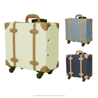 """suitcases airport"" carry luggage wheels wholesaler case travelling vintage PU lather carry bag travel suitcase vintage trolley"