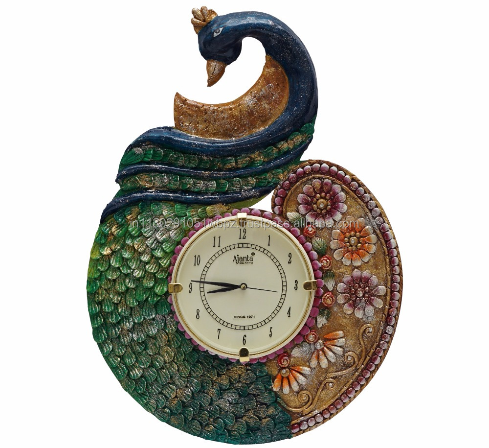 royal antique Indian peacock clock Wooden crafted handmade papier mache paper decorative wall clock handpainted home decor items
