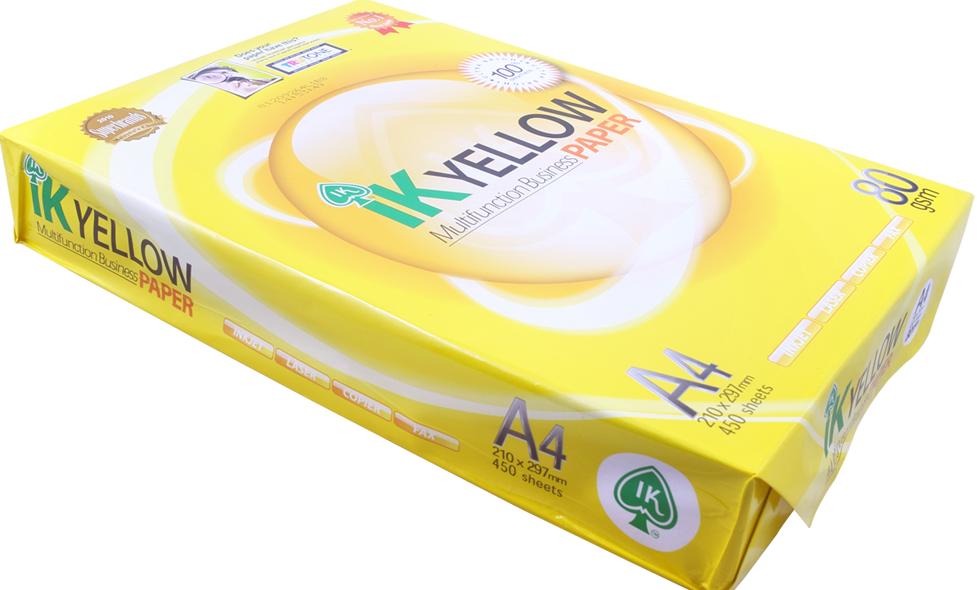 Competitive Priced Ik Yellow A4 Paper 80gsm/75gsm/70gsm 500 Sheet Per Ream