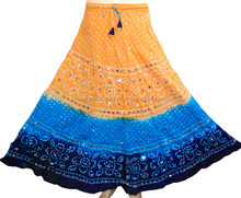 Long Skirt Indian Handmade Bandhej Tie & Die Cotton Skirt