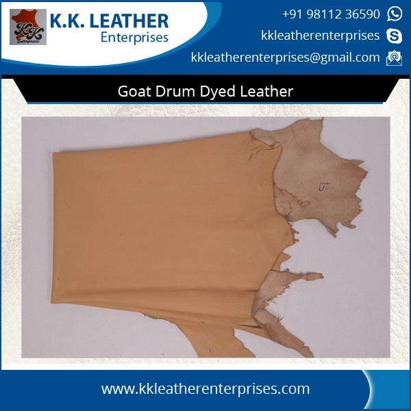 Precisely Tested and Processed Goat Drum Dyed Leather for Bulk Buyers