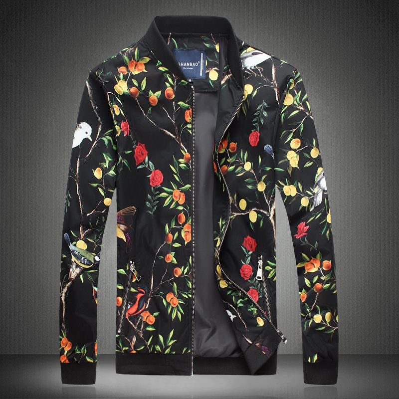 Floral Printed Mens Bomber Jackets and Coats Zip Pocket Slim Fit New Fashion 2016 Designer Clothes Plus Size/lightweight jacket