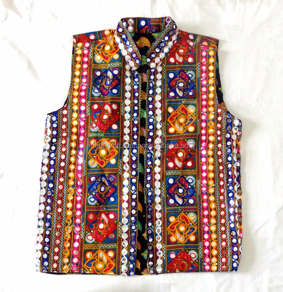 Gujarati hand embroidered sleeveless Jacket-hand embroidery man cotton jacket-navratri wear man koti - man waistcoat - coat