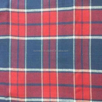 poly cotton plain check flannel fabric