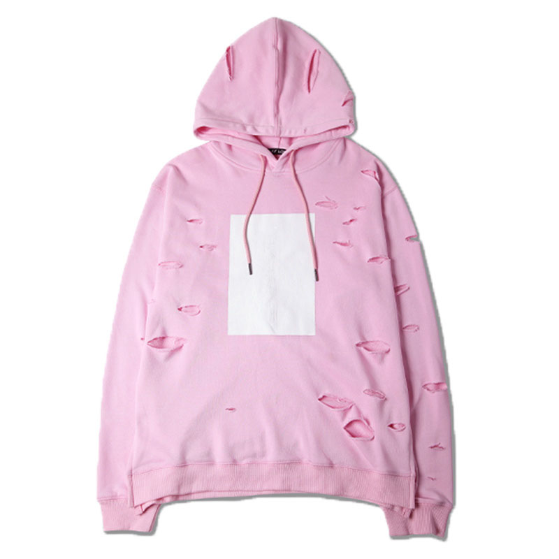 White cover pink distressed hoodies high quality