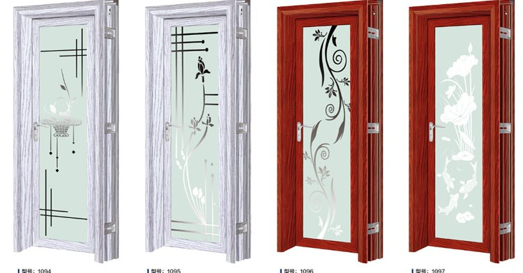latest design Aluminium half glass door interior glass doors