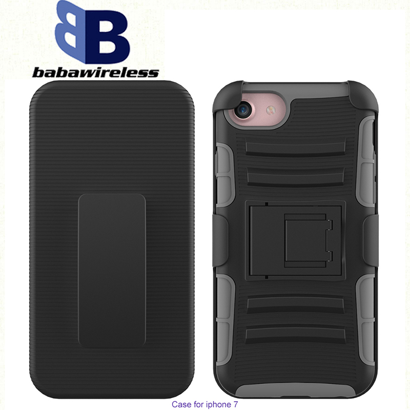 2016 new product 3 in1 PC+Silicon Hybrid Holster Combo Phone Case for iPhone 7 holster