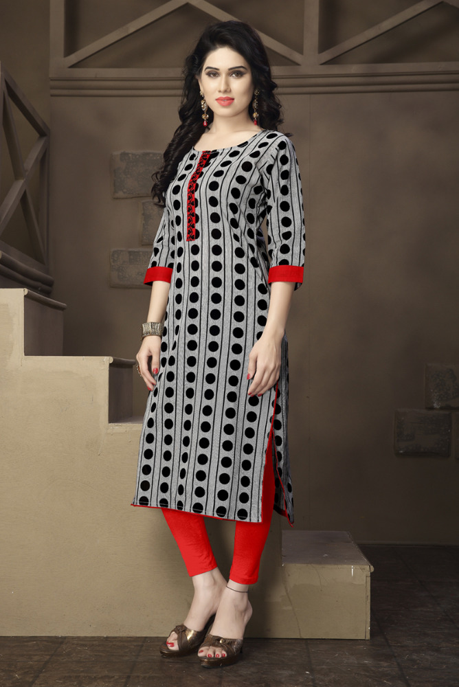 Cotton Printed Designer Straight Cut Kurti