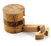 Round Bucket Puzzle,Classic Wooden Games and Toys,Interlocking Puzzles,Brain Teasers