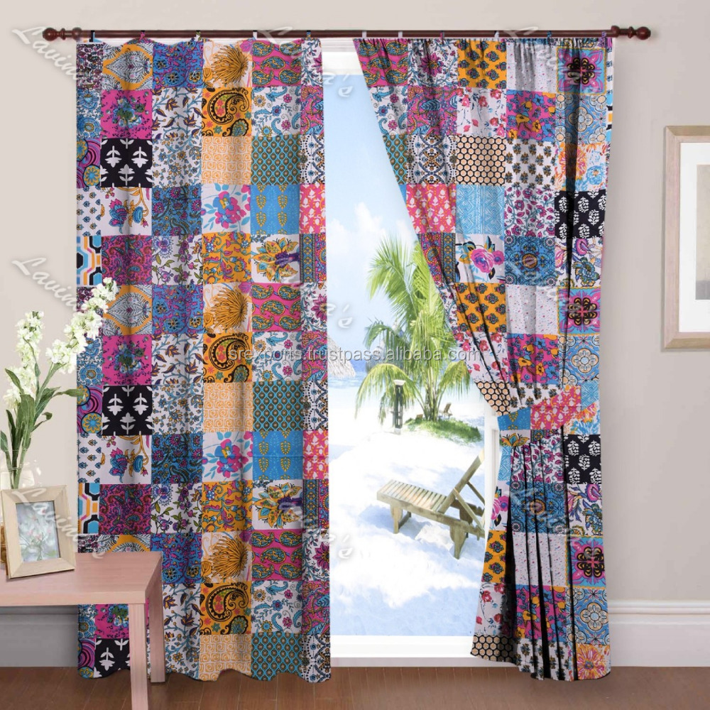 Block Printed Patchwork Window Curtains Door Hanging Wall Door Wall Hanging