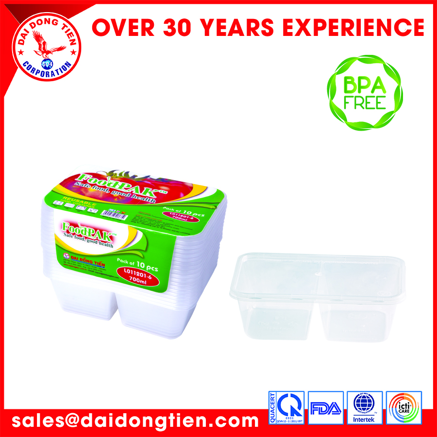 Takeaway food container very convenientTake away rect. food cont. 700ml (2 compartment)
