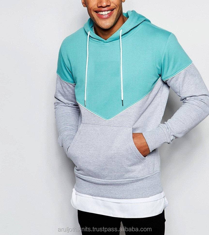 Men's two tone pullover hoodies