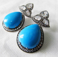 Turquoise Cz 925 Sterling Silver Dangler Two Tone Victorian Earrings