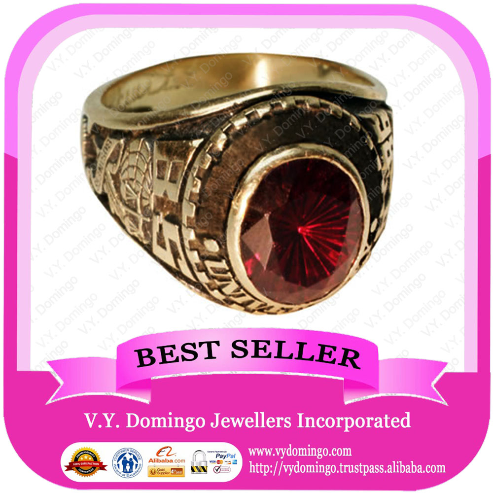 Custom Made Wholesale College Ring with Garnet Stone Class Ring