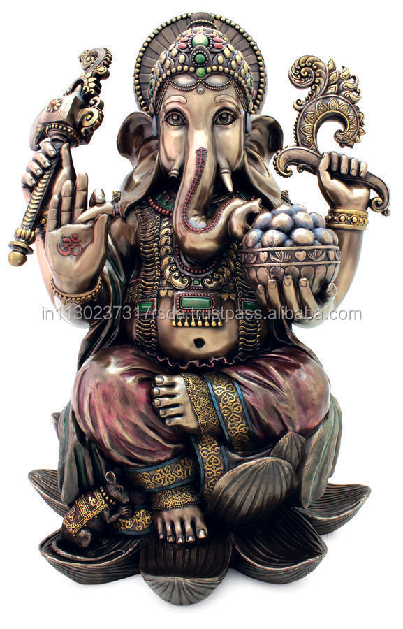 "25"" Big Ganesh Statue Hindu Sitting On Lotus Ganesha God Elephant Lord Figurine Art Home Decor"