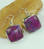DI-3503 925 Sterling Silver Earring Size 3cm Jewelry Purple Mohave Turquoise
