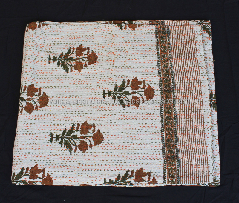 Kantha Quilt Gudari Reversible Cotton, Block print Fabric,Custom Design Bedspread Cotton Bed Throw
