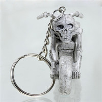 Cheap Custom Keyring Motorcycle Halloween Skeleton Skull Gray 3D Rubber Keychain