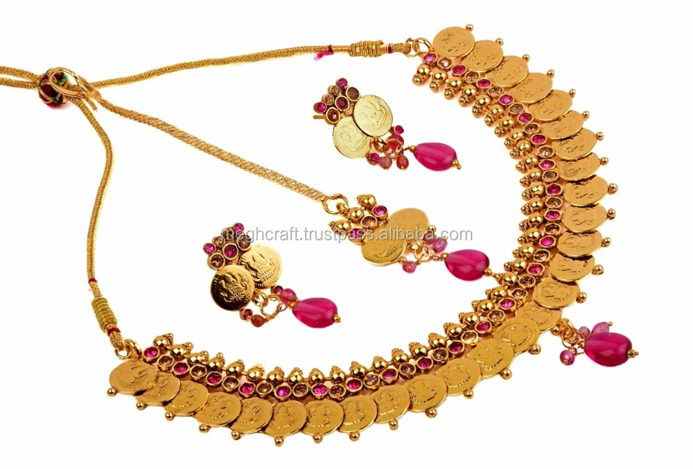 Wholesale One gram Gold Plated Jewellery - ginni Necklace set-Lakshmi coin jewellery with Maang Tikaa-South indian Necklace set