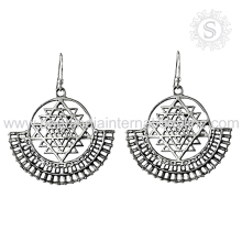 elegant Design Plain Silver Heavy Work Earring With 925 Sterling Silver Jewelry Wholesale Silver Jewellery Manufacture