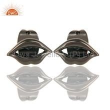 Art Lips Designer Stud Women Earring Black Rhodium Plated 925 Silver Earrings Manufacturer of Indian Rhodium Plated Jewelry