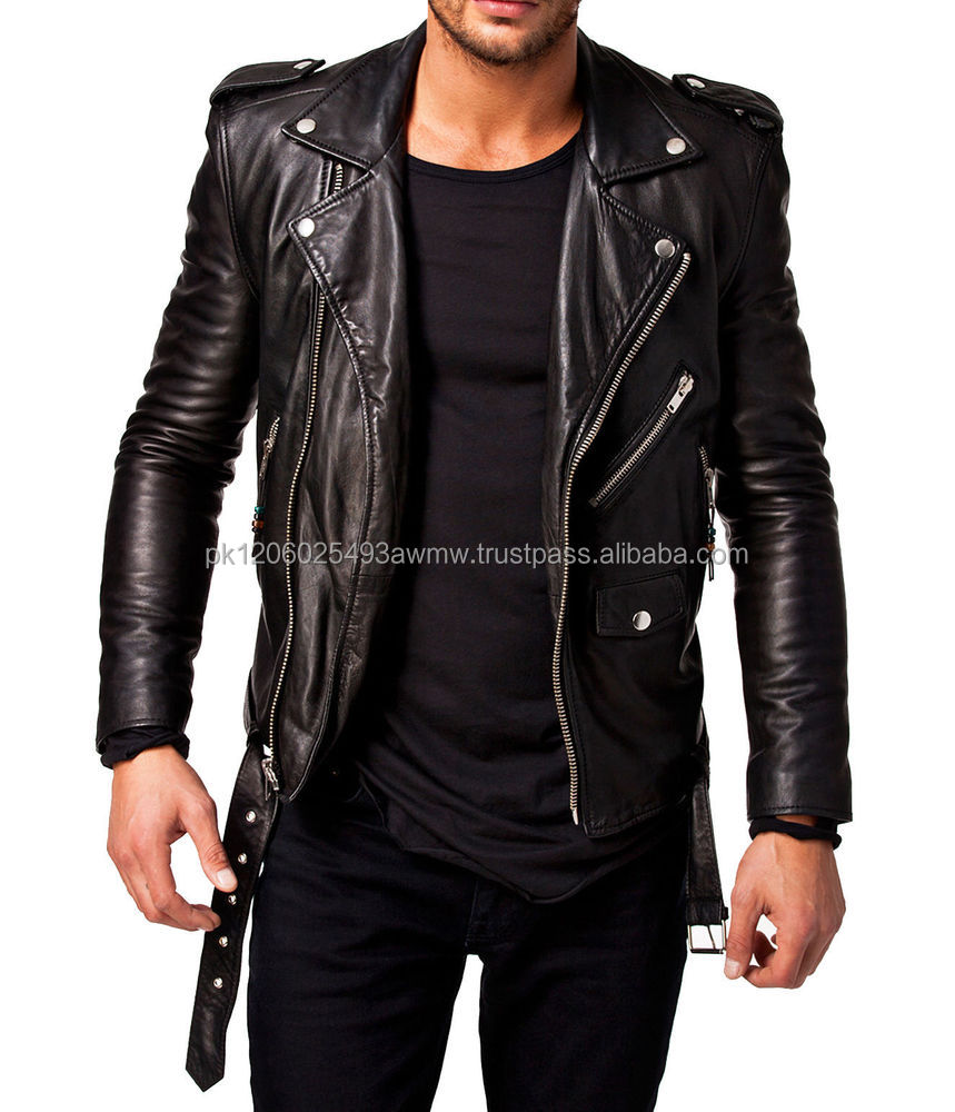 leather biker jacket with belt/biker studded leather jackets for men best style