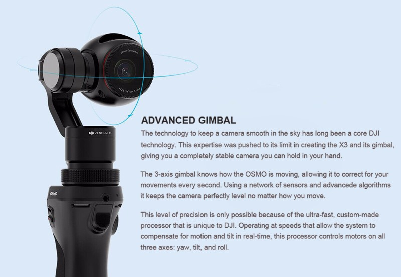 Original DJI OSMO 3 axis handheld gimbal and ZENMUSE X3 4K HD