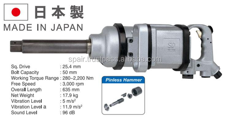 Durable heavy duty impact wrench for automotive industry, made in Japan, OEM available