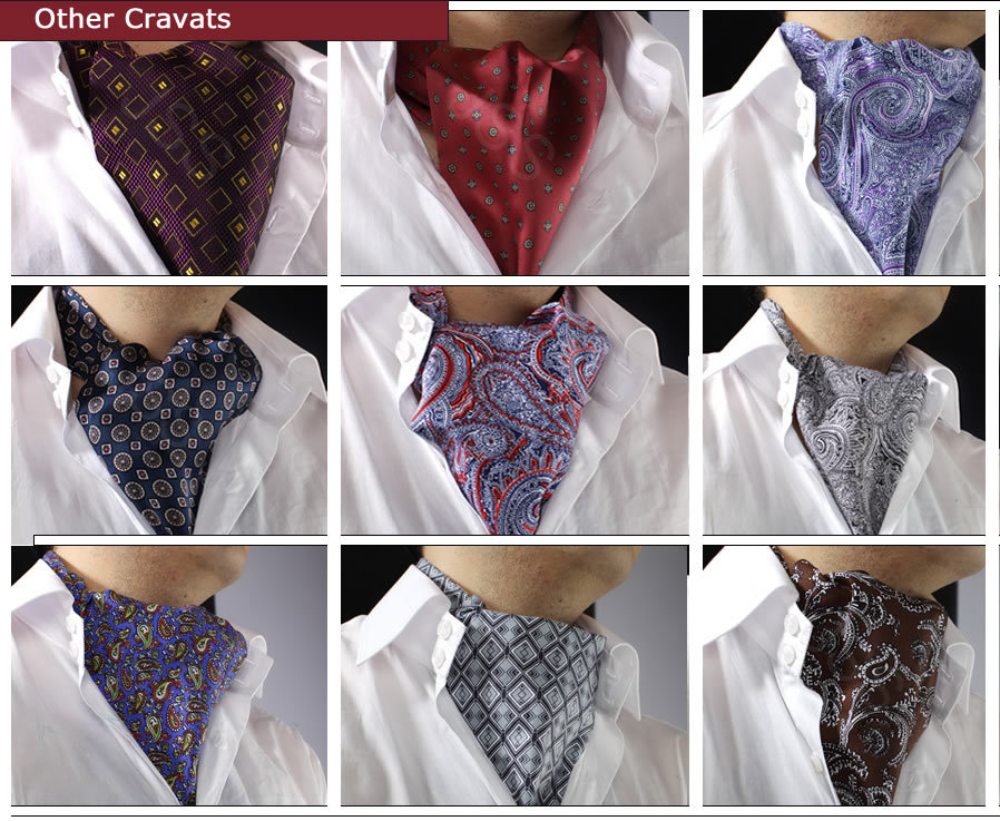Cravat, scarf,Mens casual blue paisley, Ascots, cravat and pocket square set, patterned silk cravat