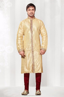 Cream Dupioni Raw Silk Fabric Kurta Pyjama